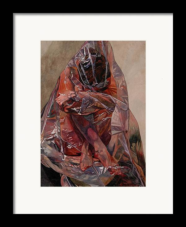 Nude Framed Print featuring the painting Encompassed by Valerie Patterson