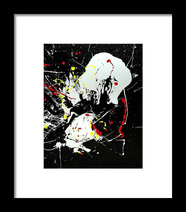 Abstract Framed Print featuring the painting Encounter 2 by Paul Freidin