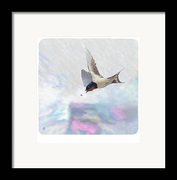 Swallow Framed Print featuring the digital art Encounter by John Helgeson