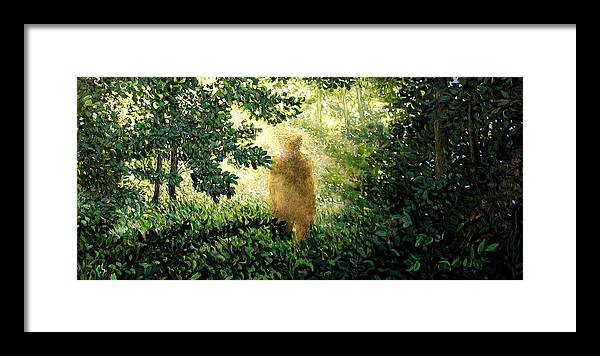Landscape Framed Print featuring the painting Encounter by Paul Sierra