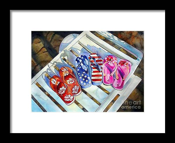 Flip Flops/chaise Lounge Framed Print featuring the painting End Of Summer by Gail Zavala