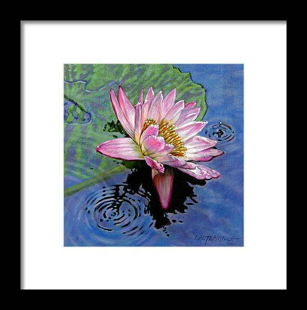 Water Lily Framed Print featuring the painting End Of Summer Shower by John Lautermilch