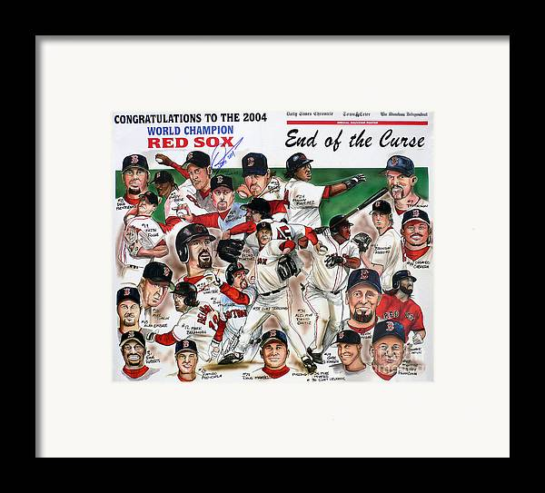 Mbl Framed Print featuring the painting End Of The Curse Red Sox Newspaper Poster by Dave Olsen