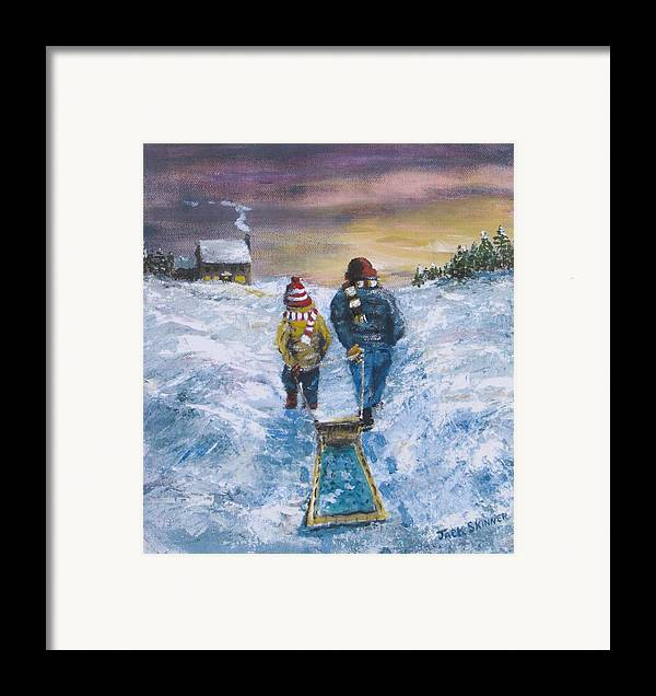 Snow Framed Print featuring the painting End Of The Day by Jack Skinner