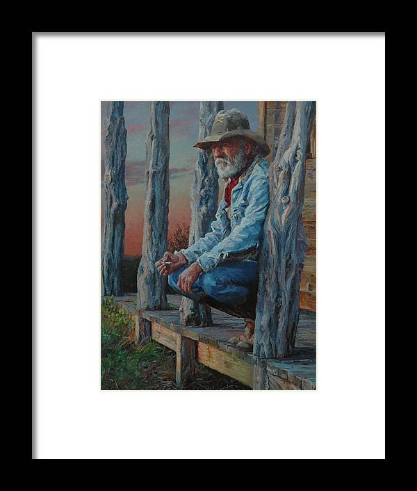 West Framed Print featuring the painting End Of The Day by Jim Clements