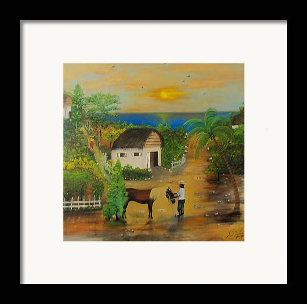 Nicole Jean-louis Framed Print featuring the painting End Of The Day by Nicole Jean-Louis