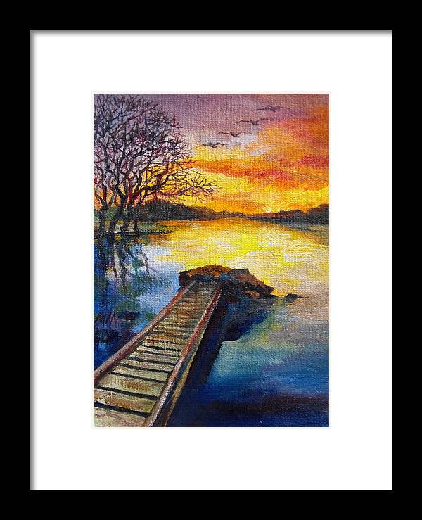 Water Framed Print featuring the painting End Of The Dock by Min Wang