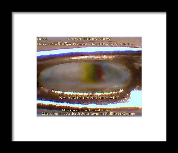 Micro Art Framed Print featuring the painting End Of The Rainbow With Large Watermarking by Phillip H George