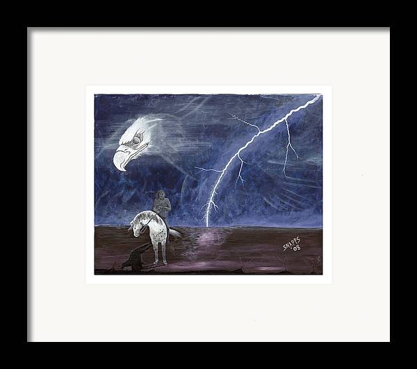 Lightning Framed Print featuring the painting End Of The Trail by Derek Snapps Keenatch