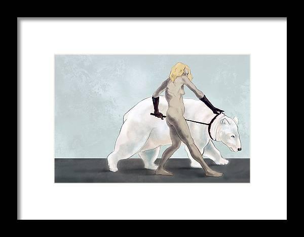 Drawing Framed Print featuring the digital art Endangered Species Polar Bear by Tom Durham