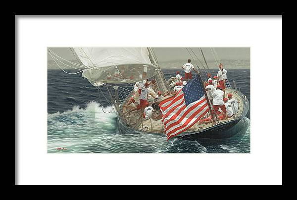 Classic Sailing Painting Framed Print featuring the painting Endeavour's Flag by Julia O'Malley-Keyes