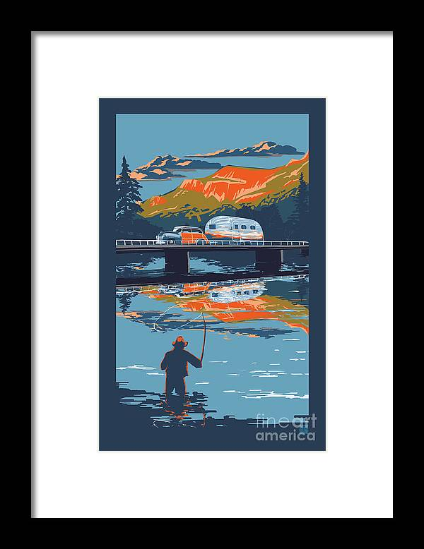 Airstream Art Framed Print featuring the painting Enderby Cliffs retro Airstream by Sassan Filsoof