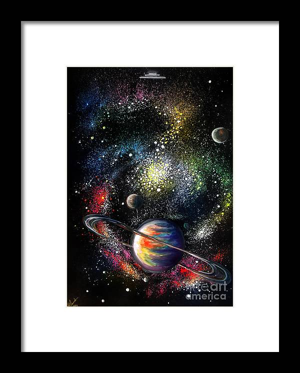 Space Framed Print featuring the painting Endless Beauty Of The Universe by Sofia Metal Queen