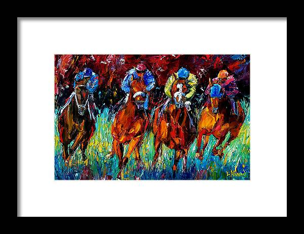 Horse Race Framed Print featuring the painting Endurance by Debra Hurd