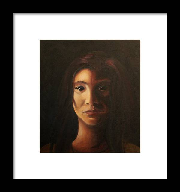 Woman In The Dark Framed Print featuring the painting Endure by Toni Berry