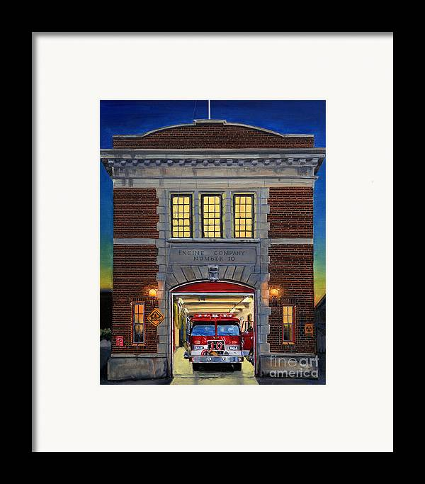 Firehouse Framed Print featuring the painting Engine Company 10 by Paul Walsh