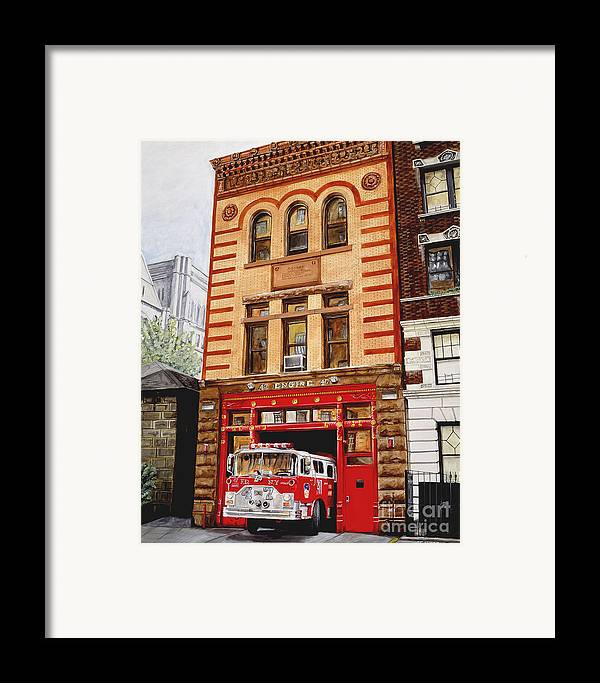 Firehouse Framed Print featuring the painting Engine Company 47 by Paul Walsh