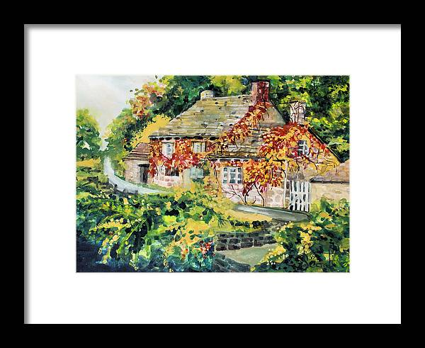 Cottage Framed Print featuring the painting English Autumn by Mary Sonya Conti