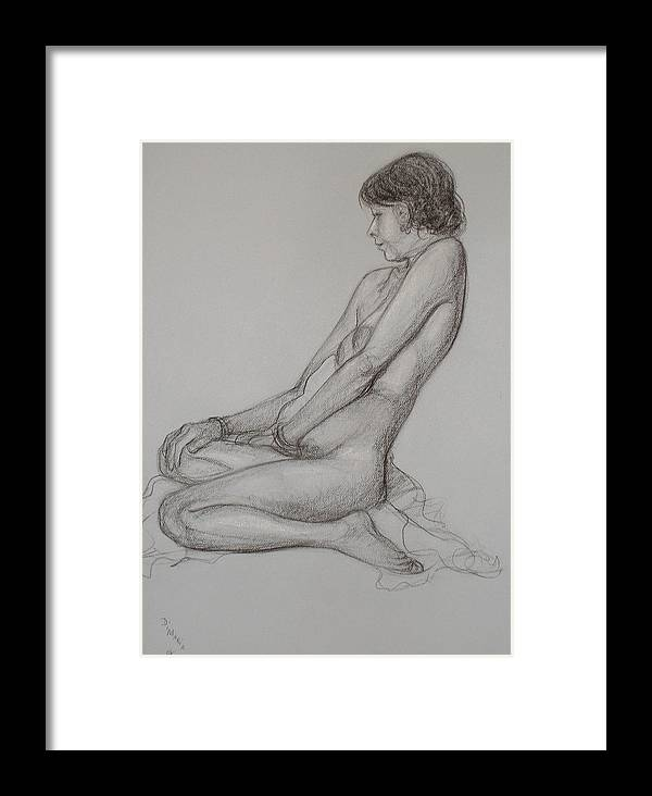 Realism Framed Print featuring the drawing English Model by Donelli DiMaria