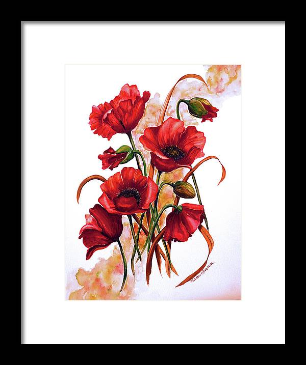 Red Poppies Paintings Floral Paintings Botanical Paintings Flower Paintings Poppy Paintings Field Poppy Painting Greeting Card Paintings Poster Print Painting Canvas Print Painting  Framed Print featuring the painting English Poppies 2 by Karin Dawn Kelshall- Best