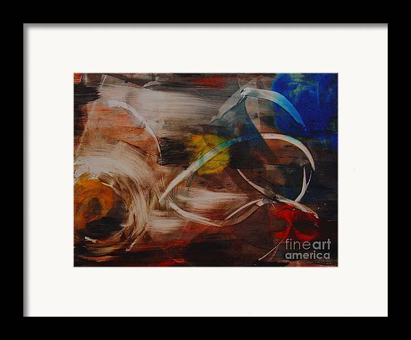 Space Abstract Original Monoprint Leilaatkinson Beginning Framed Print featuring the painting Enigma by Leila Atkinson