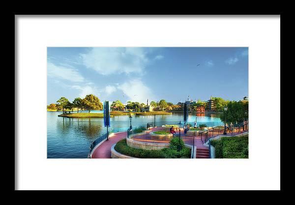 Epcot Framed Print featuring the photograph Enjoying The Shade World Showcase Lagoon Walt Disney World by Thomas Woolworth