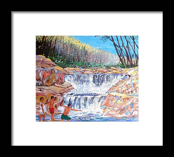 Boys Framed Print featuring the painting Enjoying Waterfall by Narayan Iyer