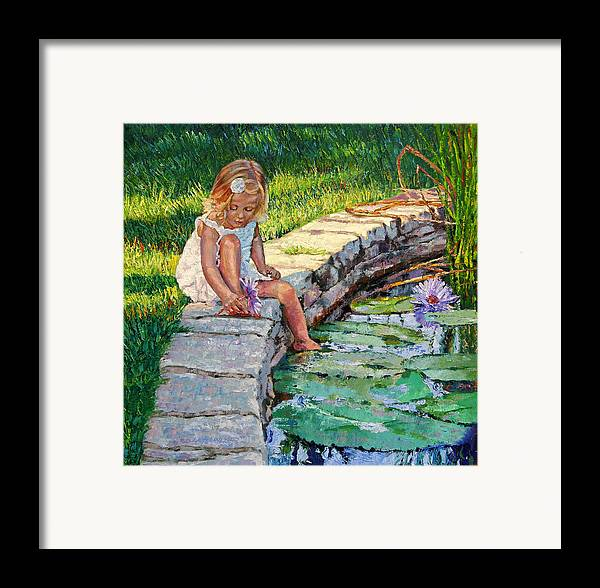 Small Girl Framed Print featuring the painting Enjoying Yesterdays Sunlight by John Lautermilch