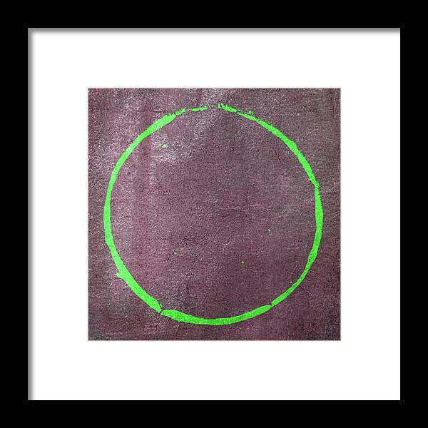 Green Framed Print featuring the digital art Enso 2017-21 by Julie Niemela