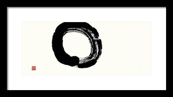 Enso Framed Print featuring the painting Enso - Enlightenment Unfolding by Nadja Van Ghelue