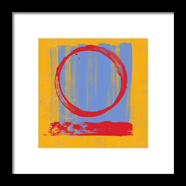 Red Framed Print featuring the painting Enso by Julie Niemela