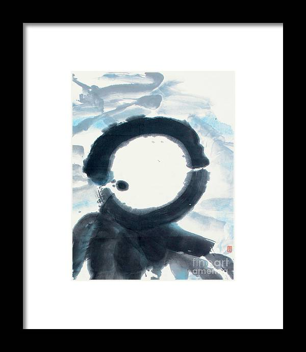 Framed Print featuring the painting Quietude - Enso Moon Rising Above The Mountain by Nadja Van Ghelue