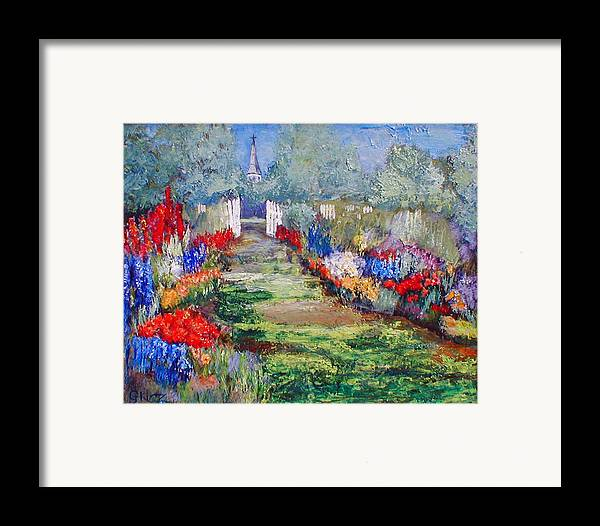 Landscape Framed Print featuring the painting Enter His Gates by Gail Kirtz