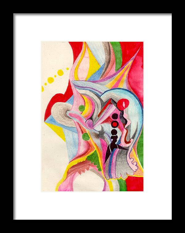 Abstract Framed Print featuring the drawing Enthusiasm For Experimentation by Peter Shor