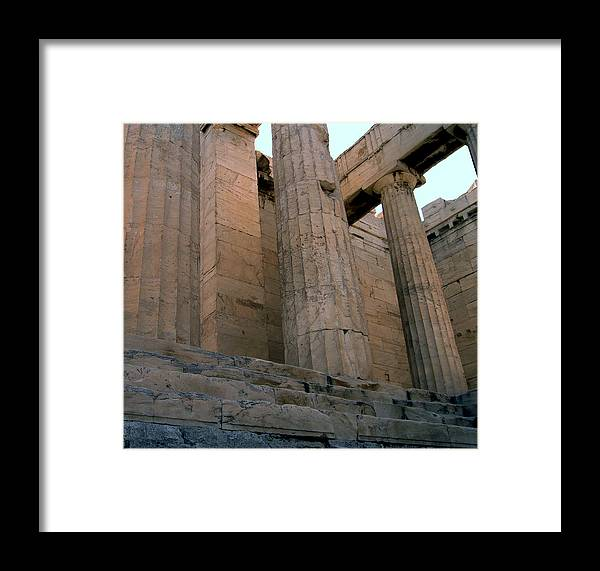 Columns Framed Print featuring the photograph Entrance To Past Life  Acropolis by Blima Efraim