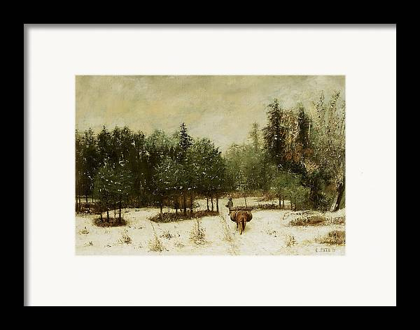 Entrance Framed Print featuring the painting Entrance To The Forest In Winter by Cherubino Pata