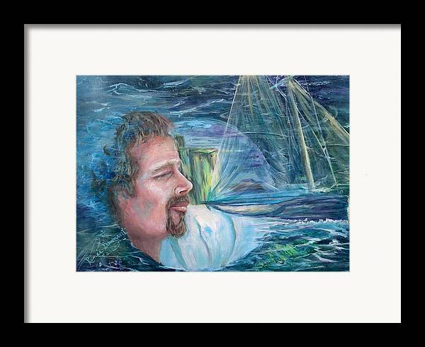 Seascape Framed Print featuring the painting Envisioned Voyage by Renee Dumont Museum Quality Oil Paintings Dumont