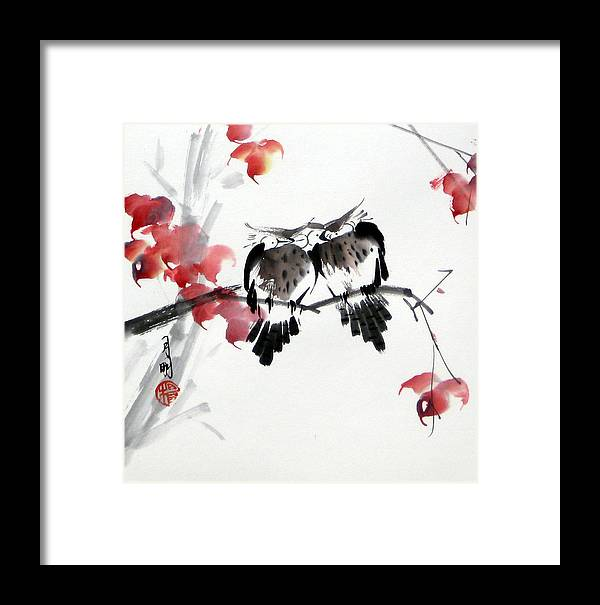 Chinese Painting Framed Print featuring the painting Envoy Of Fall by Ming Yeung