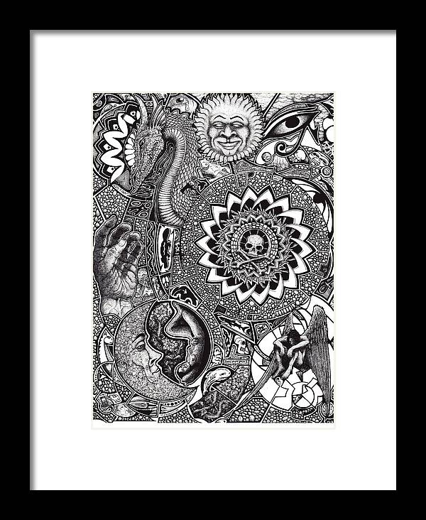 Black And White Framed Print featuring the drawing Epiphany by Tobey Anderson