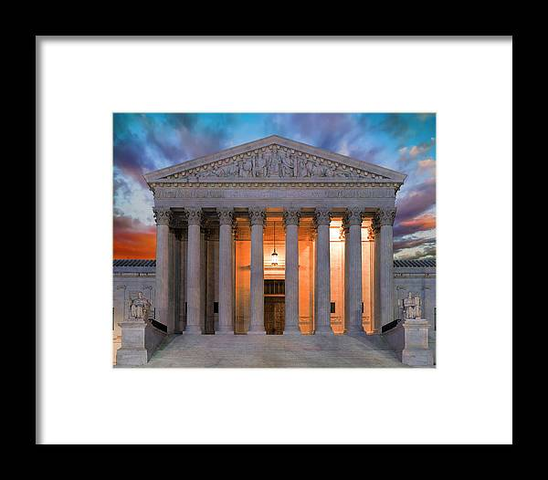 Supreme Court Framed Print featuring the photograph Equal Justice Under Law by Daniel Hagerman