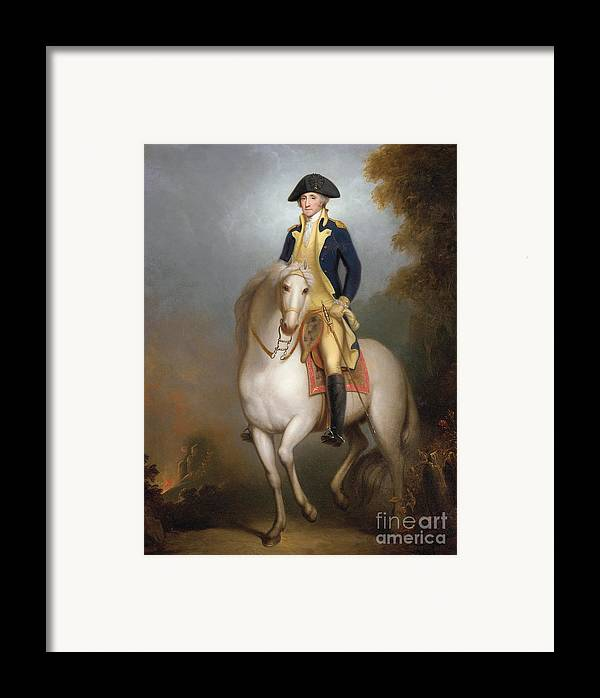 Equestrian Portrait Of George Washington (oil On Paper Laid Down On Board) 88:george Washington (1732-99) First President Of The United States Of America; Leader Of The Continental Army During The American Revolutionary War; American; Politician; Male; Portrait; Horse; Riding; Rider; Us; 1st; Usa; Uniform; Bicorn; Hat; Sword; Soldier; Us Framed Print featuring the painting Equestrian Portrait Of George Washington by Rembrandt Peale
