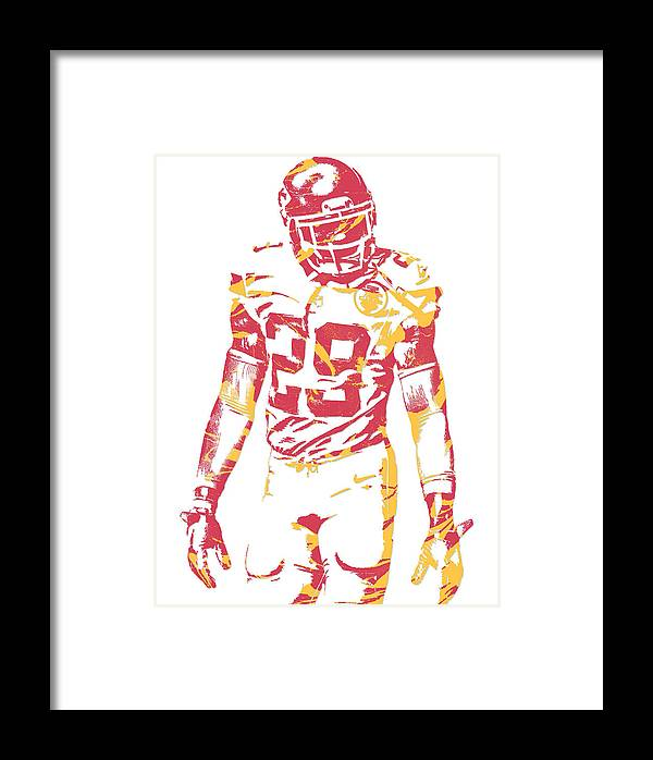 Eric Berry Kansas City Chiefs Pixel Art Framed Print by Joe Hamilton