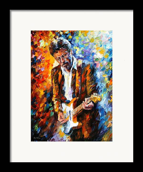 People Framed Print featuring the painting Eric Clapton by Leonid Afremov