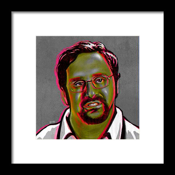 Tim And Eric Framed Print featuring the painting Eric Wareheim by Fay Helfer