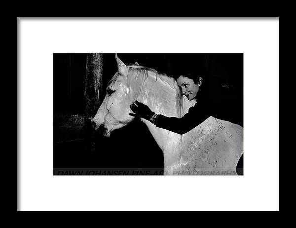 White Horse Framed Print featuring the digital art Erin and Mikey by Dawn Johansen