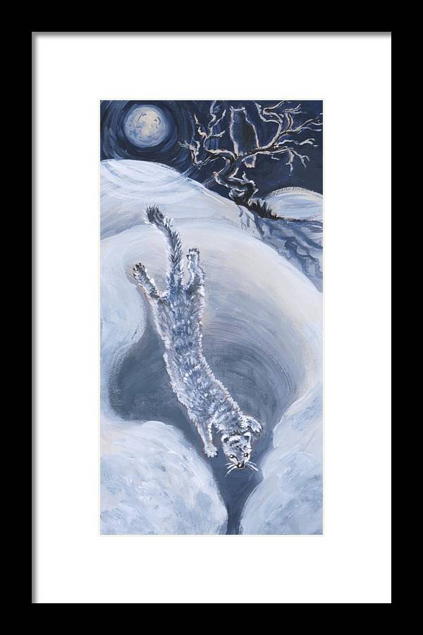 Animal Framed Print featuring the painting Ermine Diving Into Drift From River Mural by Dawn Senior-Trask