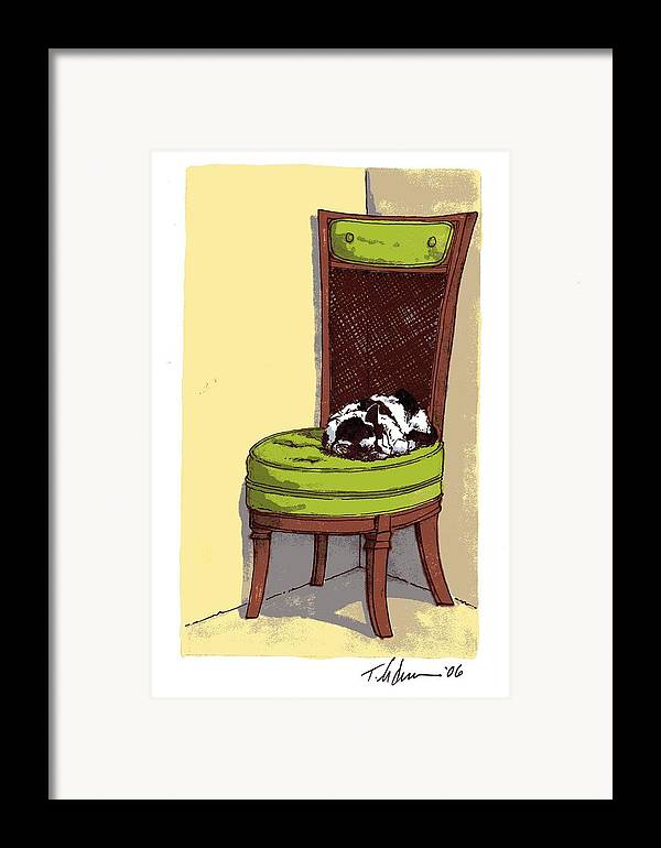 Cat Framed Print featuring the drawing Ernie And Green Chair by Tobey Anderson