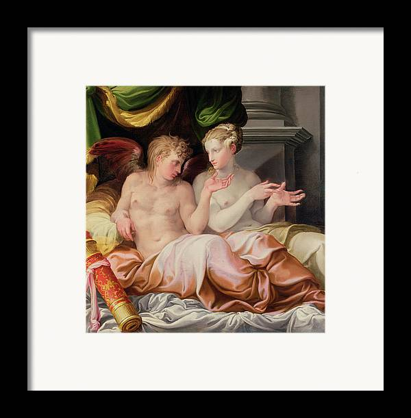 Eros And Psyche Framed Print featuring the painting Eros And Psyche by Niccolo dell Abate