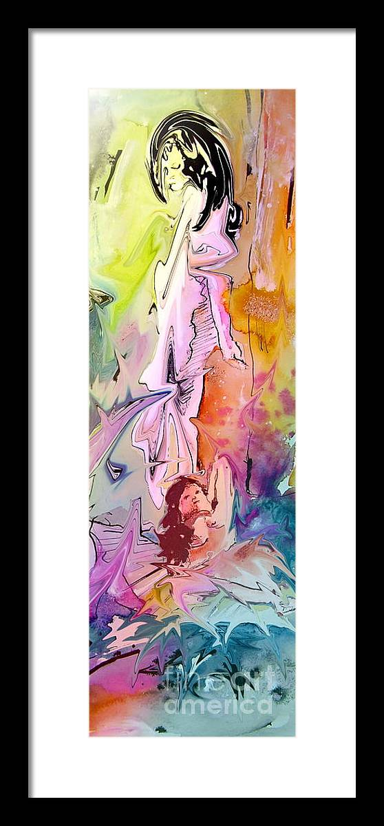 Miki Framed Print featuring the painting Eroscape 09 1 by Miki De Goodaboom