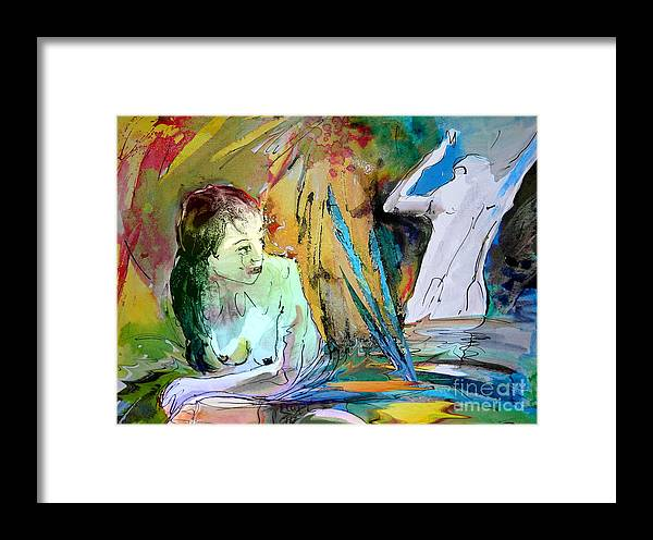 Miki Framed Print featuring the painting Eroscape 15 1 by Miki De Goodaboom